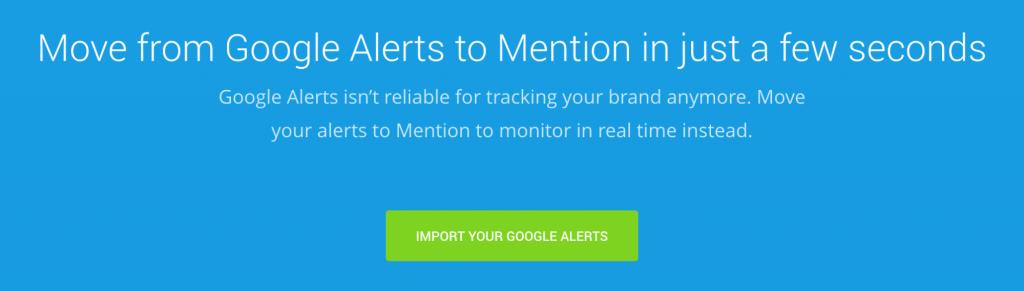 Mention's Google Alerts Alternative landing page