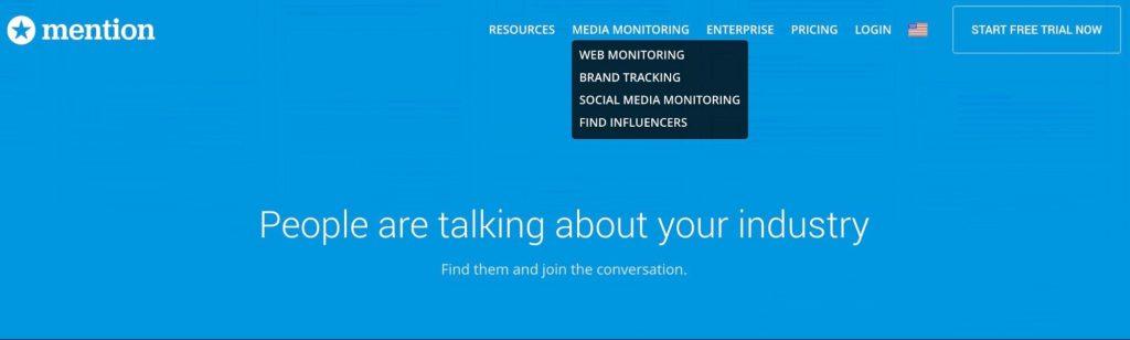 Mention's media monitoring navigation bar utilizing keywords