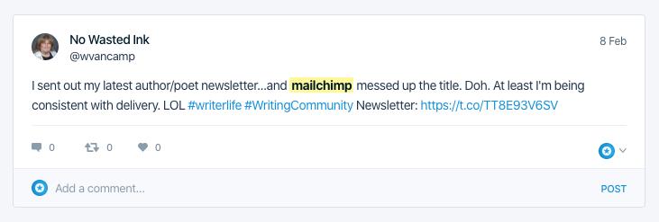 Social Listening - mailchimp product complaint