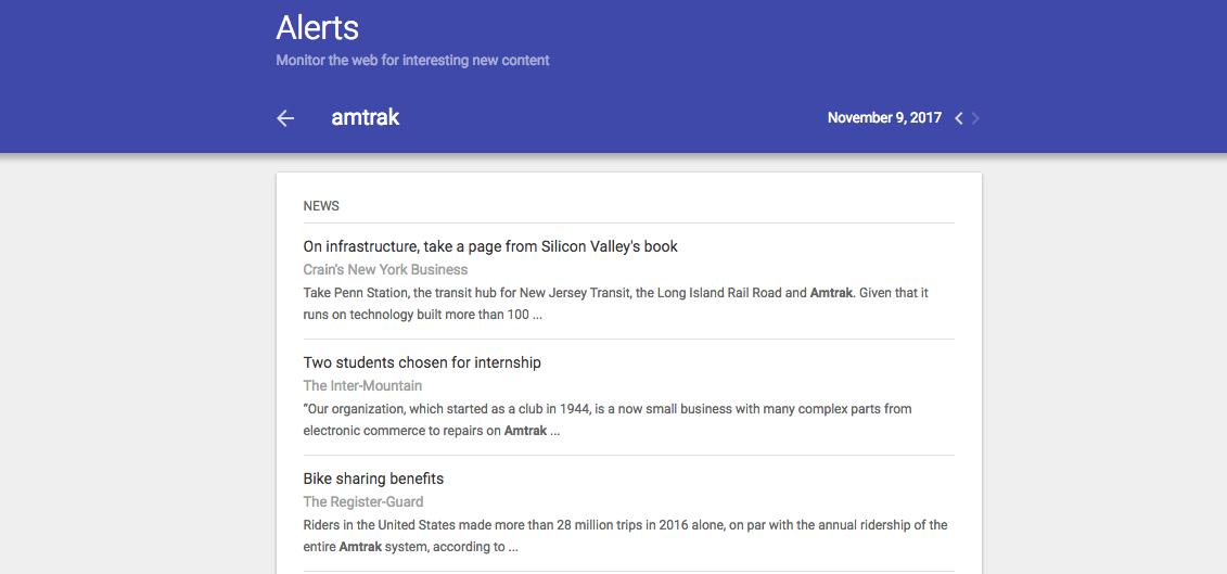 google alerts amtrak