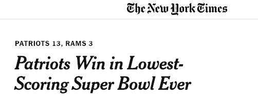 top ads brands super bowl LIII patriots lowest score