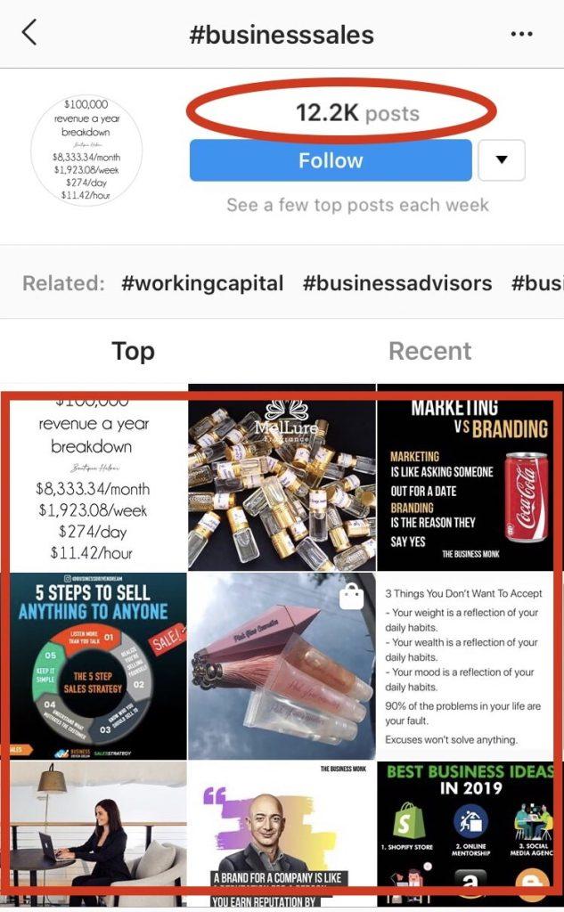 Instagram #businesssales hashtag