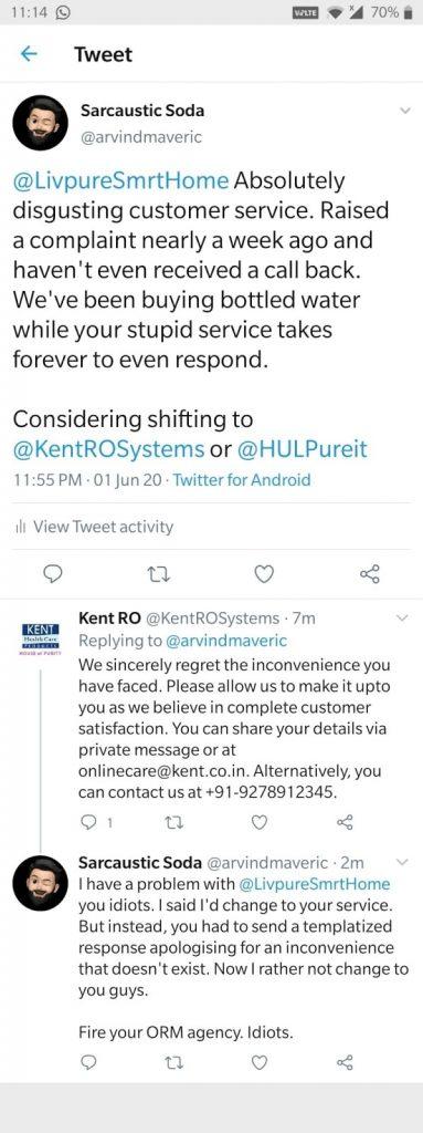 Kent Ro wrong auto tweet