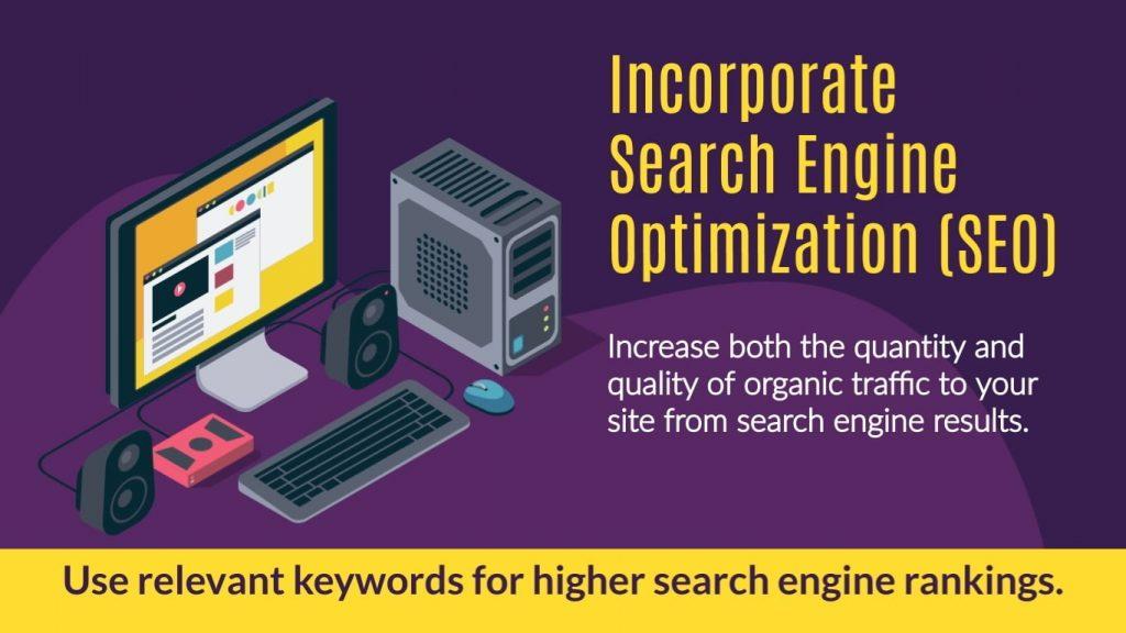 Incorporate search engine optimization (SEO)