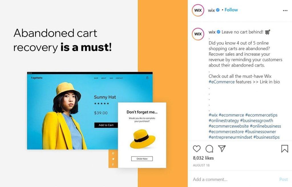 Wix CTA example on Instagram